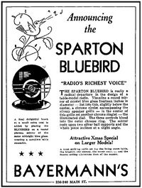 Bluebird newspaper ad from Dec 22nd 1935