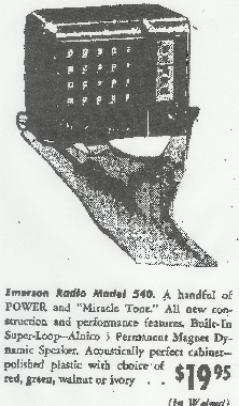 extract from 1947 newspaper ad