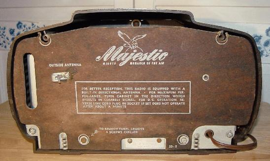 Majestic 5A410 Bakelite Table Radio Rear View (1946)