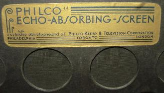 Label on the rear acoustic screen